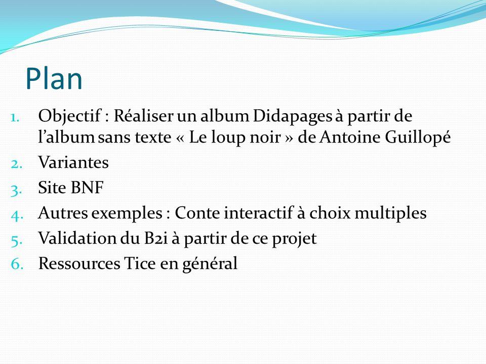 Plan Objectif : Réaliser un album Didapages à partir de l'album sans texte « Le loup noir » de Antoine Guillopé.