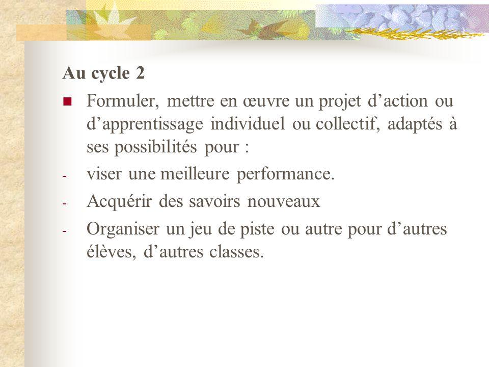 Au cycle 2 Formuler, mettre en œuvre un projet d'action ou d'apprentissage individuel ou collectif, adaptés à ses possibilités pour :