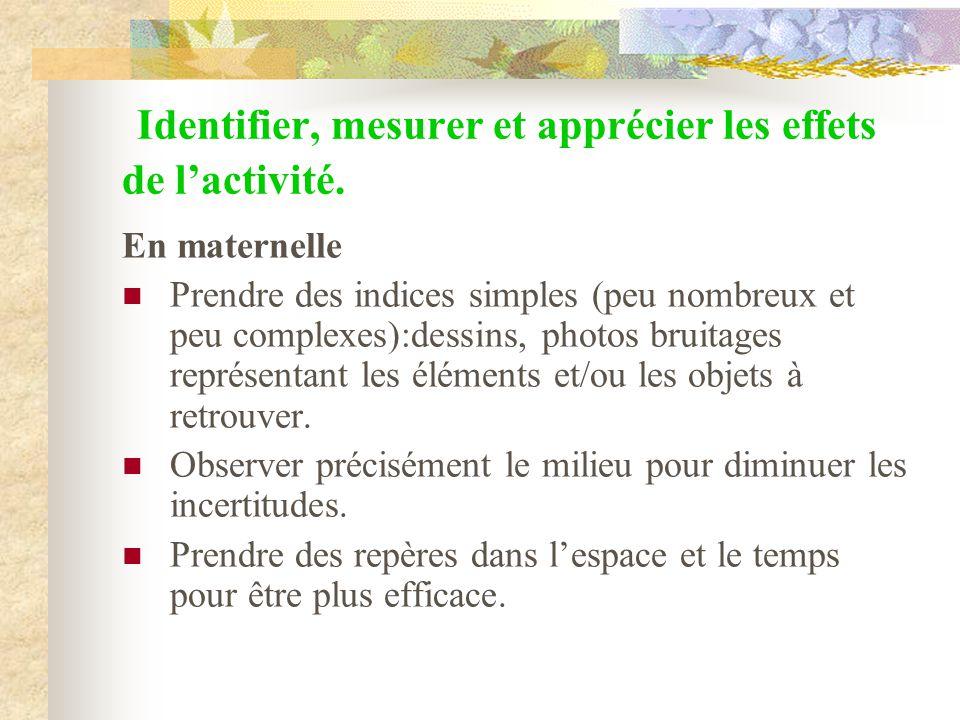 Identifier, mesurer et apprécier les effets de l'activité.