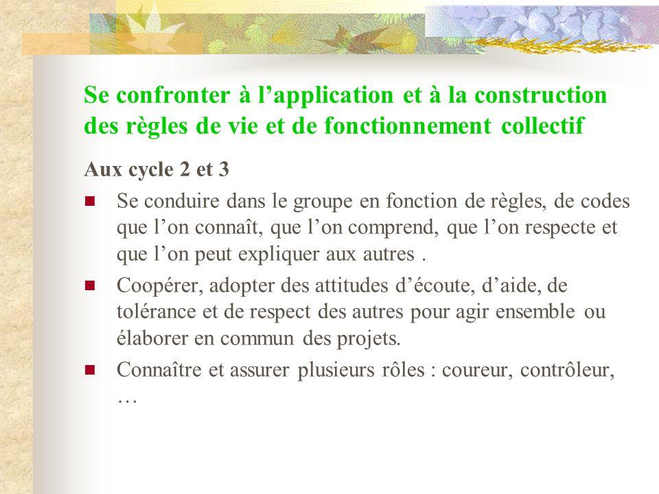 Se confronter à l'application et à la construction des règles de vie et de fonctionnement collectif