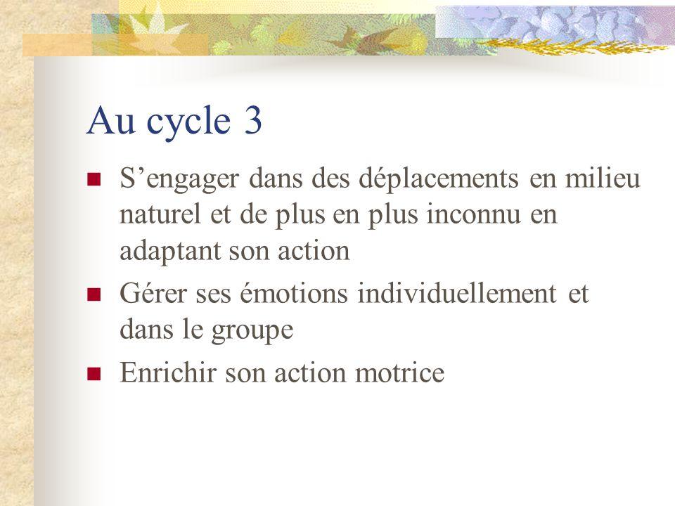 Au cycle 3 S'engager dans des déplacements en milieu naturel et de plus en plus inconnu en adaptant son action.