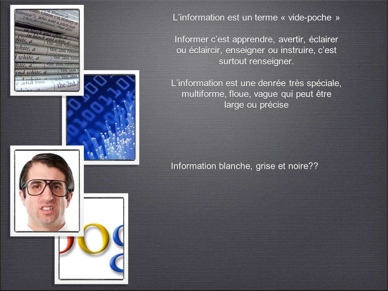 L'information est un terme « vide-poche » Informer c'est apprendre, avertir, éclairer ou éclaircir, enseigner ou instruire, c'est surtout renseigner. L'information est une denrée très spéciale, multiforme, floue, vague qui peut être large ou précise