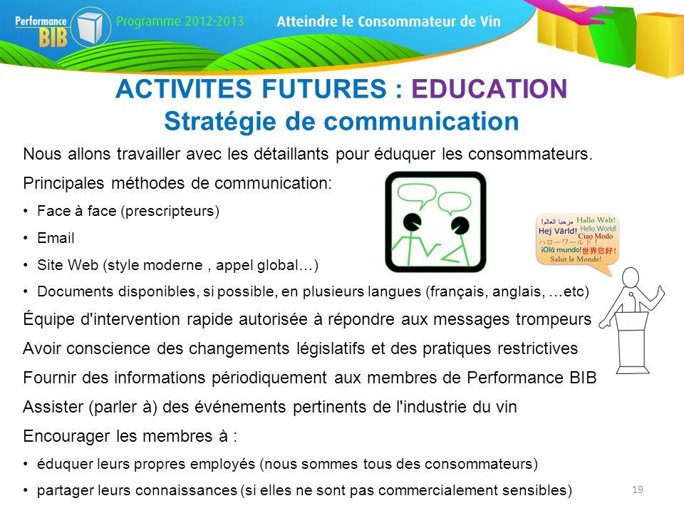 ACTIVITES FUTURES : EDUCATION Stratégie de communication