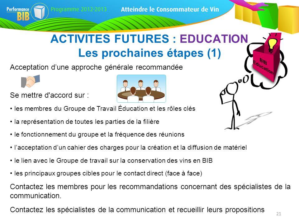 ACTIVITES FUTURES : EDUCATION Les prochaines étapes (1)