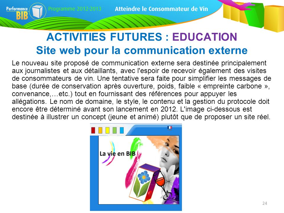 ACTIVITIES FUTURES : EDUCATION Site web pour la communication externe