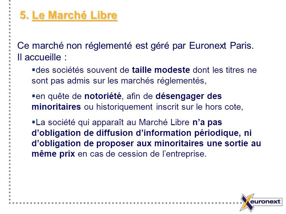 5. Le Marché Libre Ce marché non réglementé est géré par Euronext Paris. Il accueille :