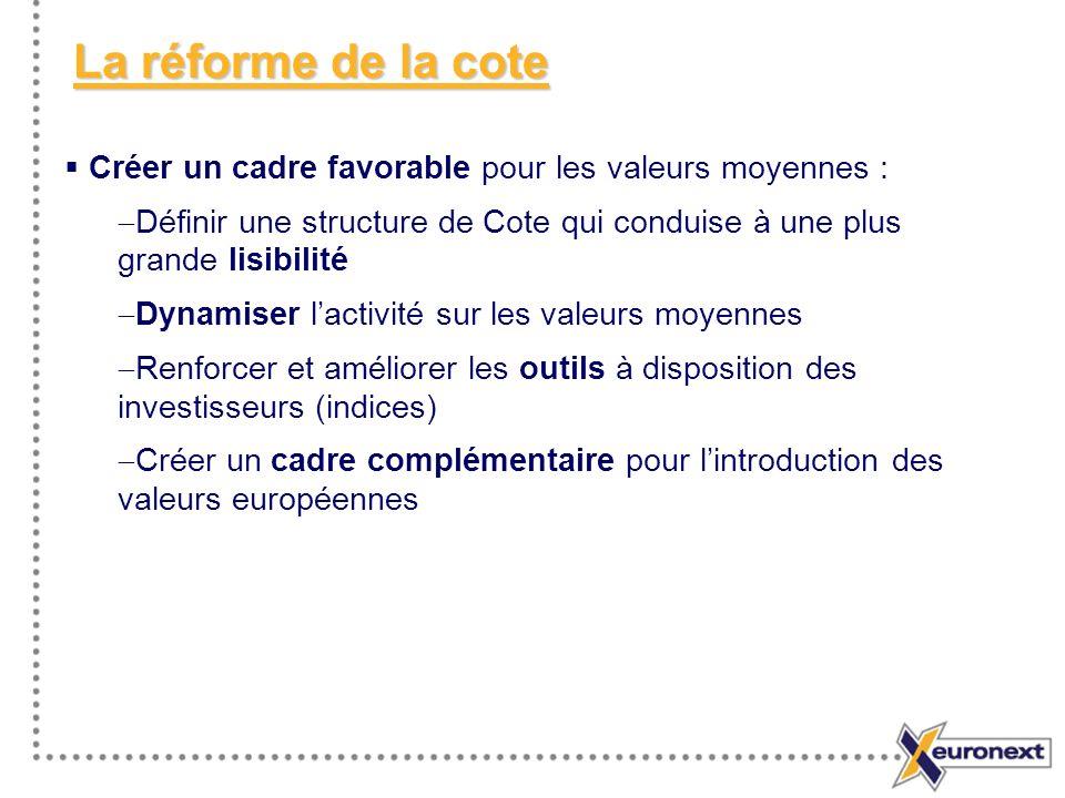 La réforme de la cote Créer un cadre favorable pour les valeurs moyennes : Définir une structure de Cote qui conduise à une plus grande lisibilité.
