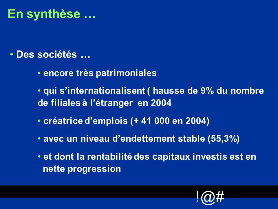 !@# En synthèse … Des sociétés … encore très patrimoniales