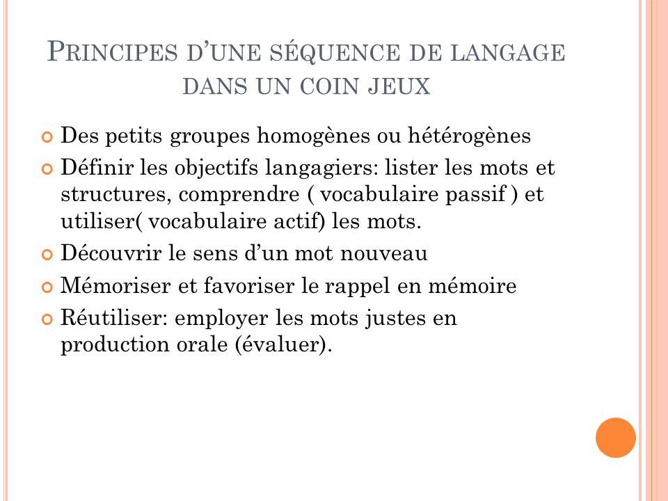 Principes d'une séquence de langage dans un coin jeux