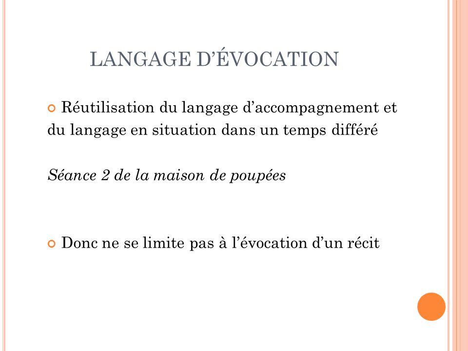 LANGAGE D'ÉVOCATION Réutilisation du langage d'accompagnement et