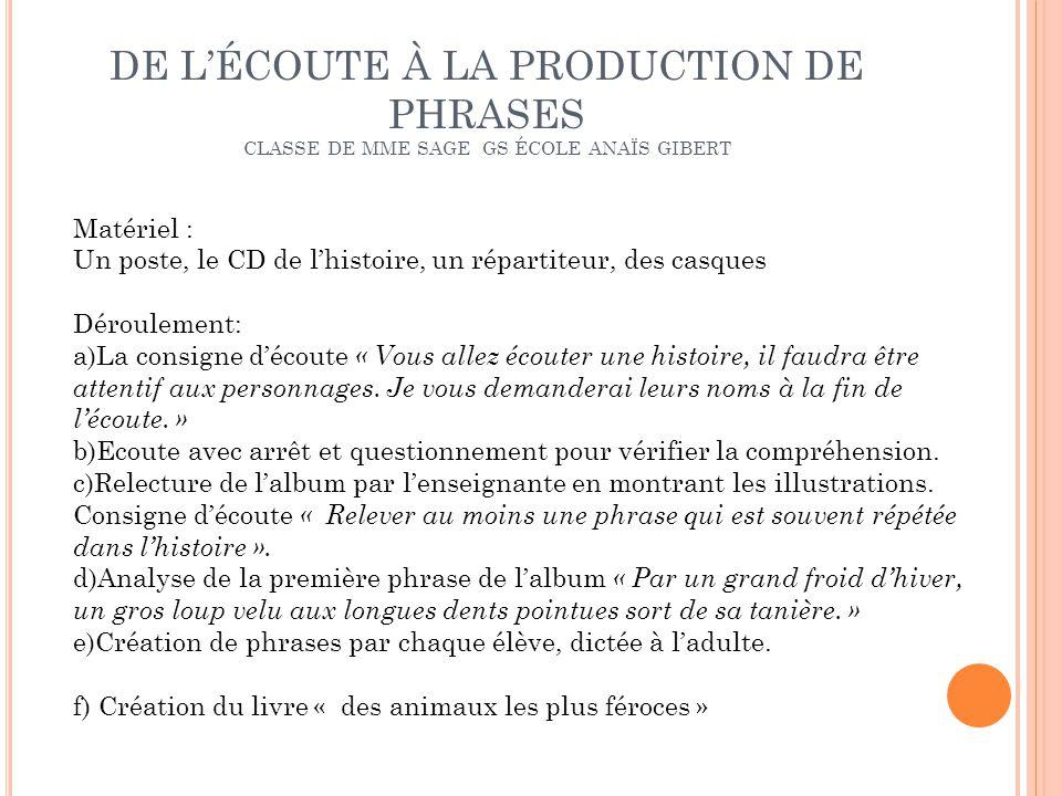 DE L'ÉCOUTE À LA PRODUCTION DE PHRASES CLASSE DE MME SAGE GS ÉCOLE ANAÏS GIBERT