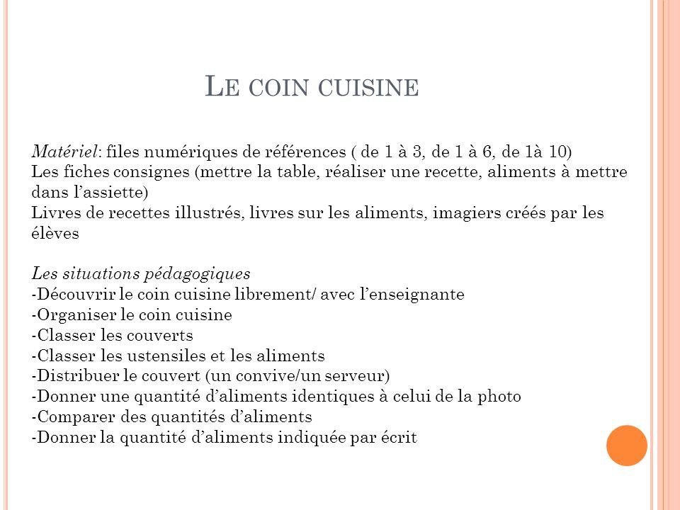 Le coin cuisine Matériel: files numériques de références ( de 1 à 3, de 1 à 6, de 1à 10)
