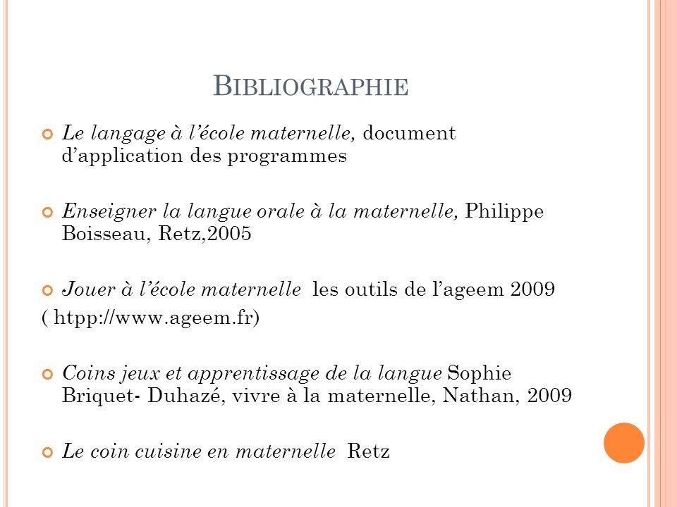 Bibliographie Le langage à l'école maternelle, document d'application des programmes.