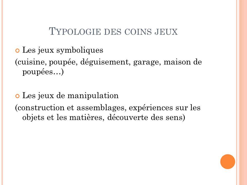 Typologie des coins jeux