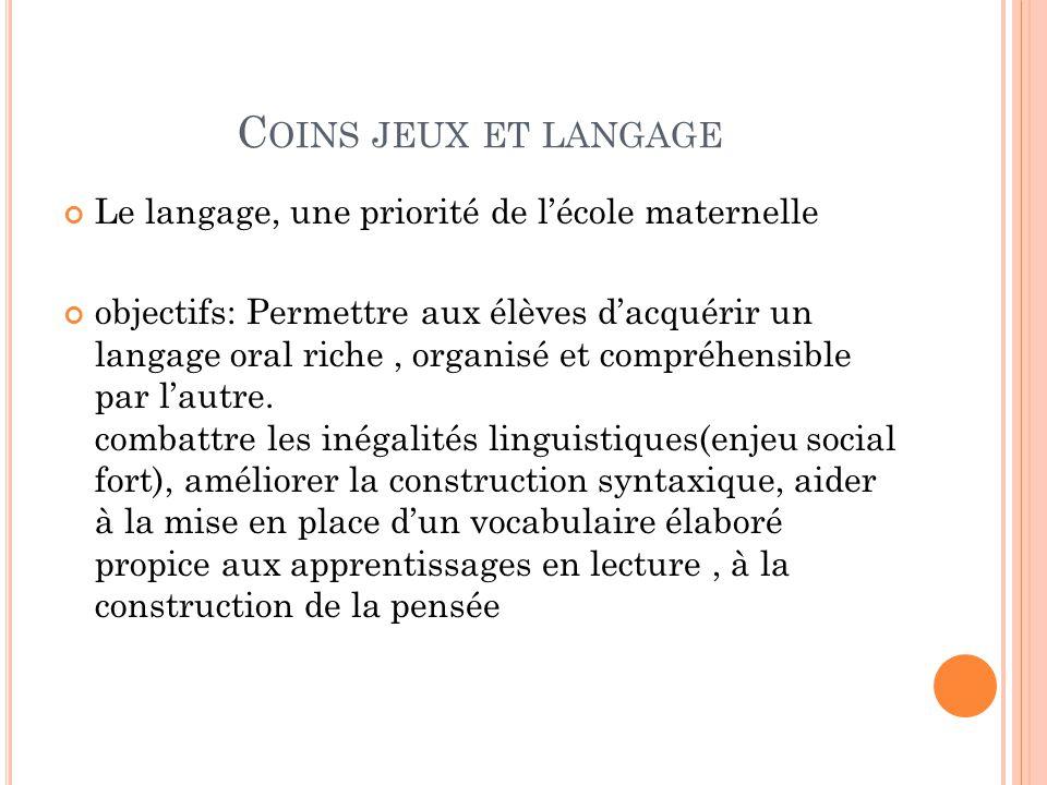 Coins jeux et langage Le langage, une priorité de l'école maternelle