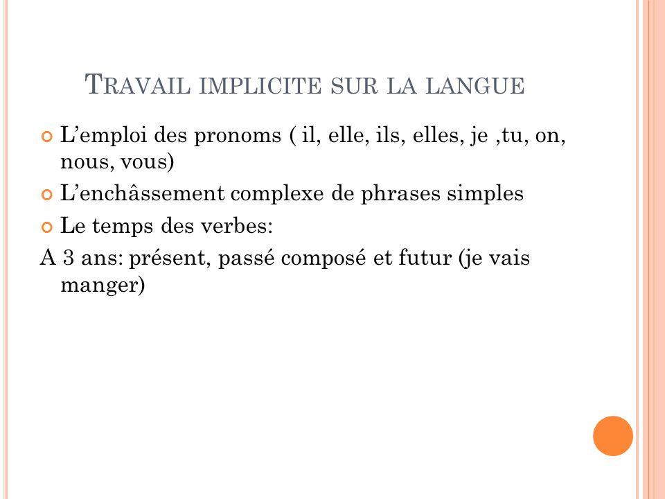Travail implicite sur la langue