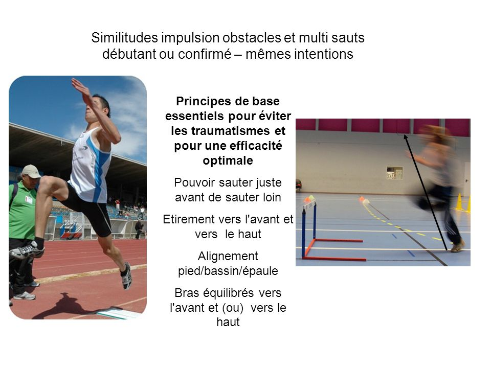Similitudes impulsion obstacles et multi sauts débutant ou confirmé – mêmes intentions