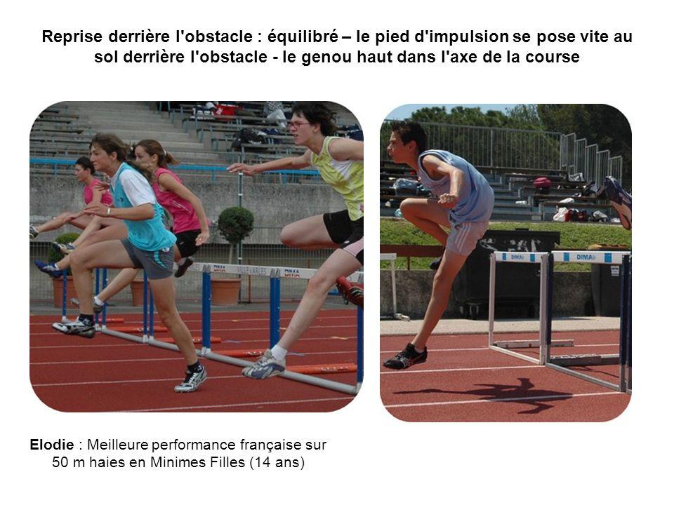 Reprise derrière l obstacle : équilibré – le pied d impulsion se pose vite au sol derrière l obstacle - le genou haut dans l axe de la course