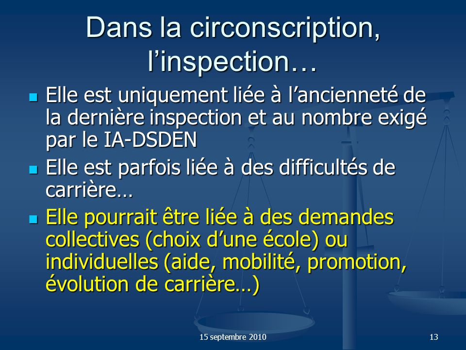 Dans la circonscription, l'inspection…