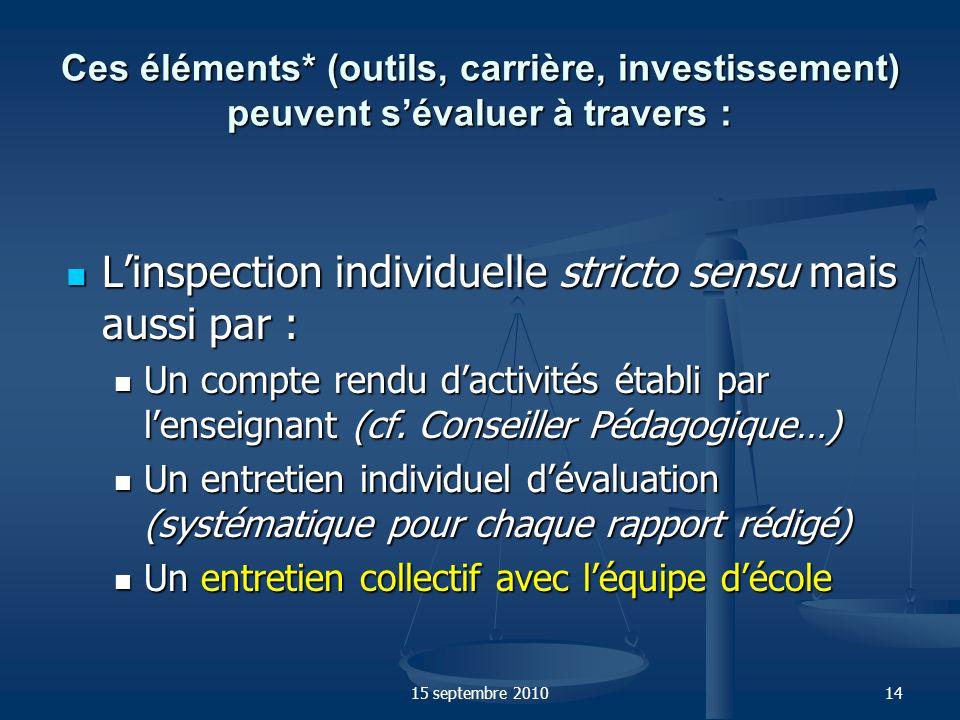 L'inspection individuelle stricto sensu mais aussi par :
