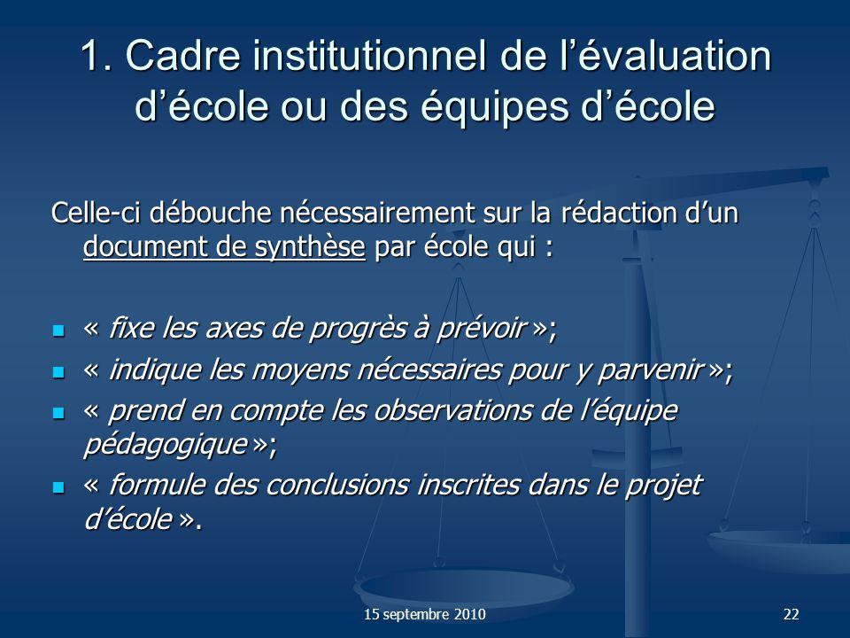 1. Cadre institutionnel de l'évaluation d'école ou des équipes d'école