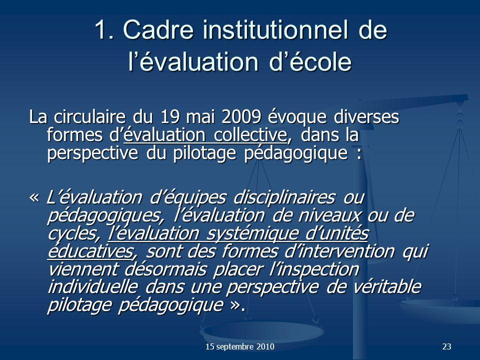 1. Cadre institutionnel de l'évaluation d'école