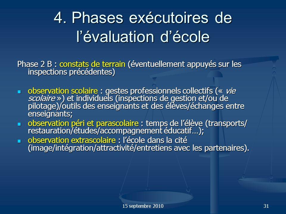 4. Phases exécutoires de l'évaluation d'école