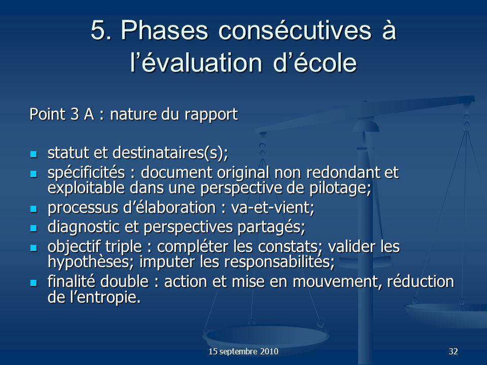 5. Phases consécutives à l'évaluation d'école