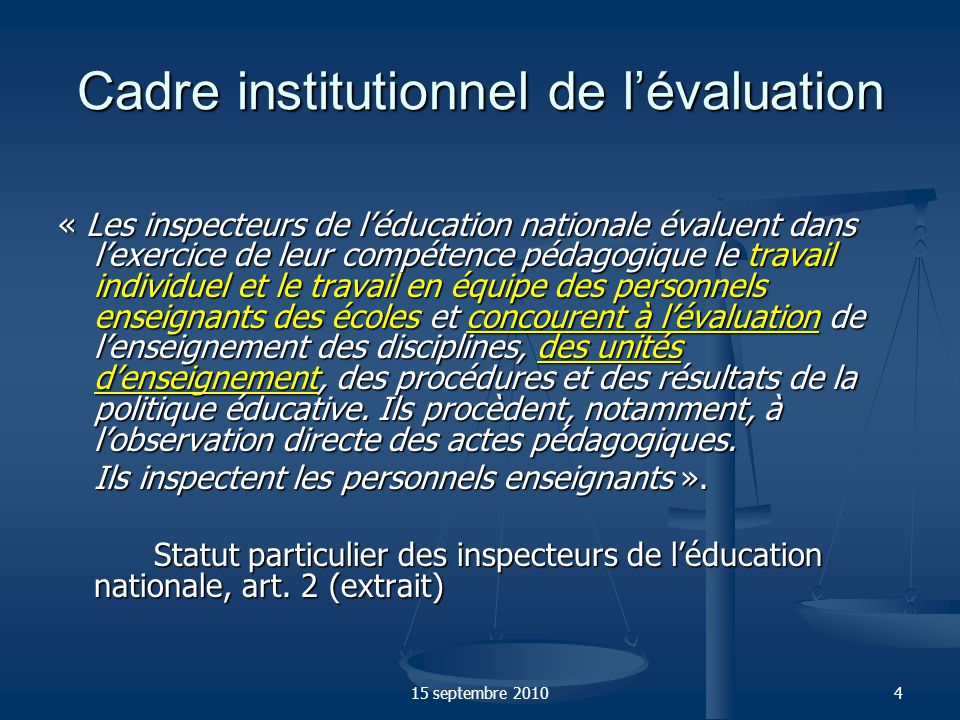Cadre institutionnel de l'évaluation