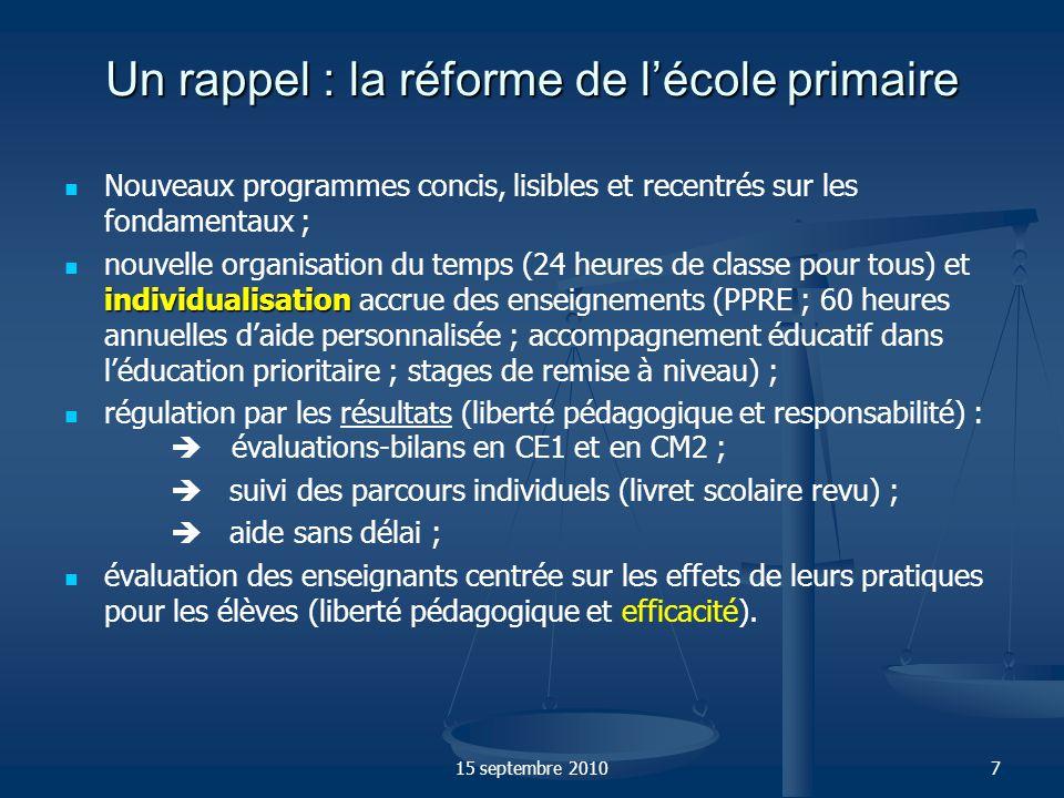 Un rappel : la réforme de l'école primaire