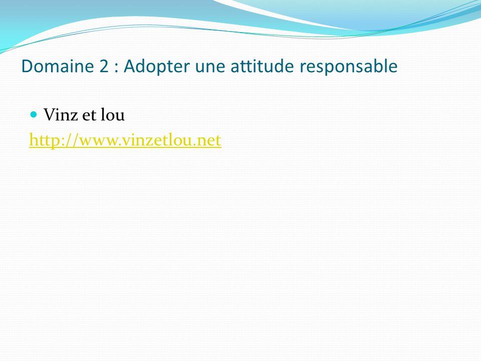 Domaine 2 : Adopter une attitude responsable