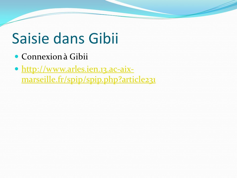 Saisie dans Gibii Connexion à Gibii