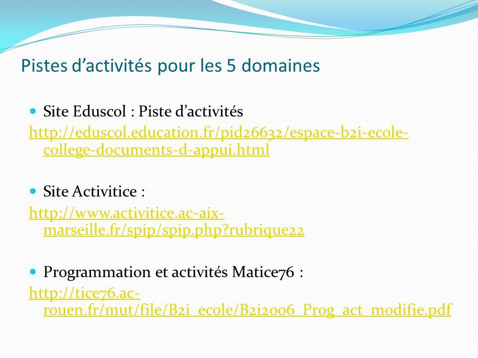 Pistes d'activités pour les 5 domaines