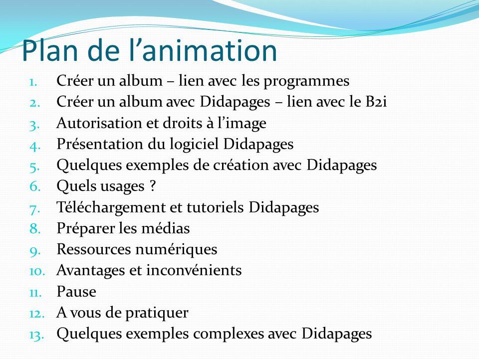 Plan de l'animation Créer un album – lien avec les programmes
