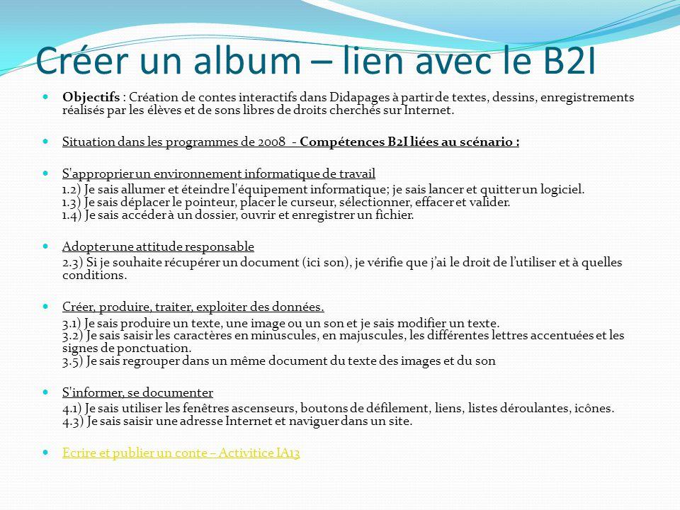 Créer un album – lien avec le B2I