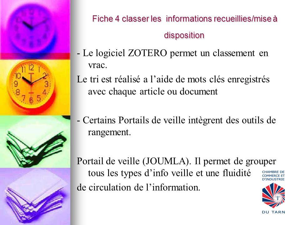 Fiche 4 classer les informations recueillies/mise à disposition