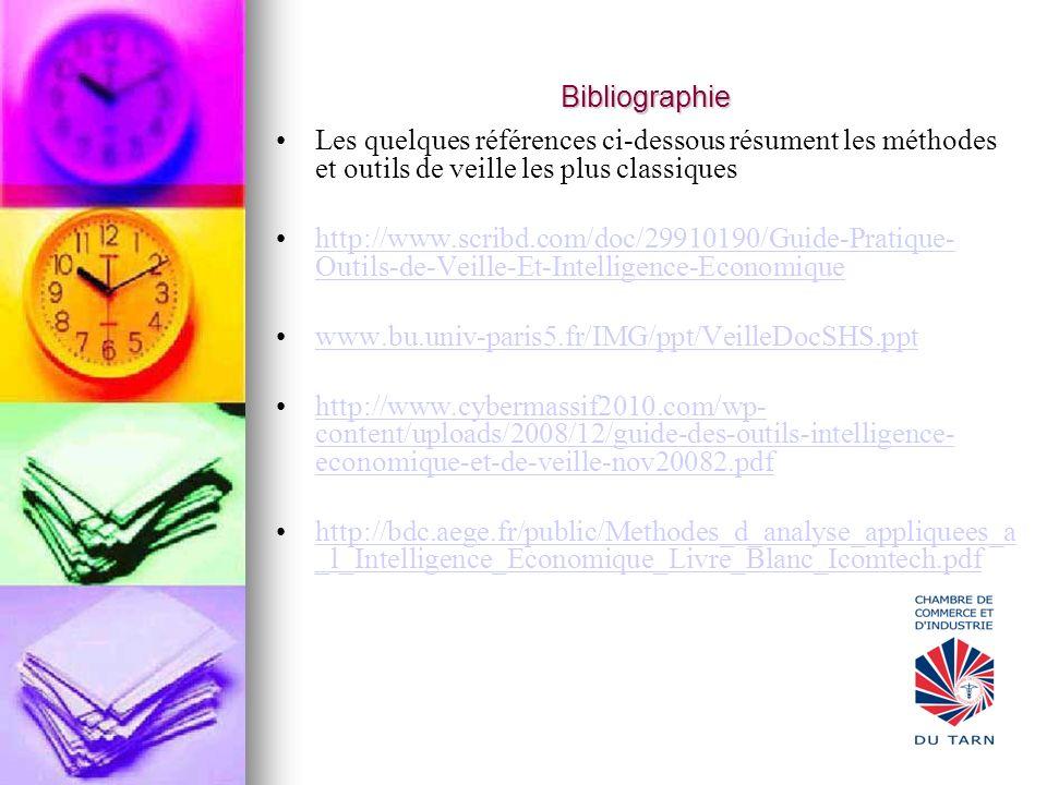 Bibliographie Les quelques références ci-dessous résument les méthodes et outils de veille les plus classiques.