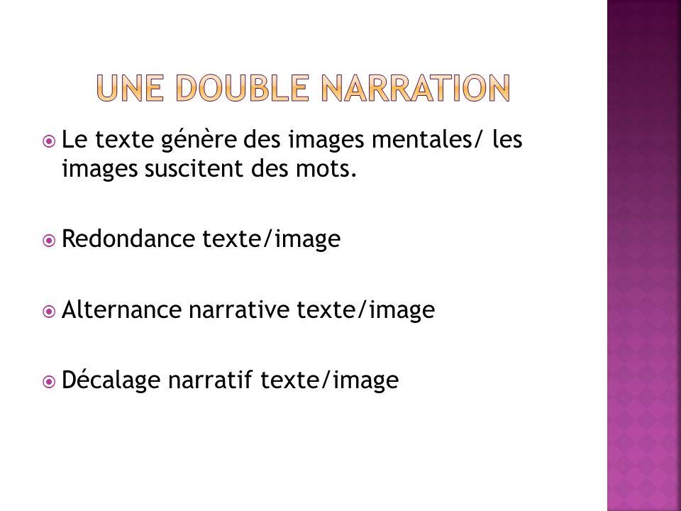 Une double narration Le texte génère des images mentales/ les images suscitent des mots. Redondance texte/image.