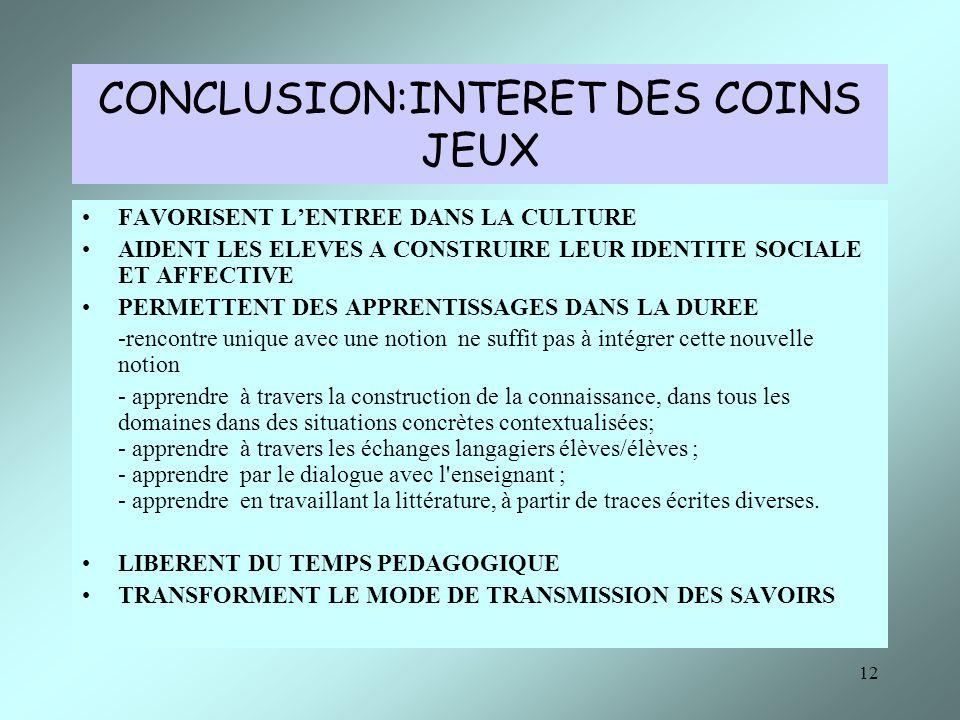 CONCLUSION:INTERET DES COINS JEUX