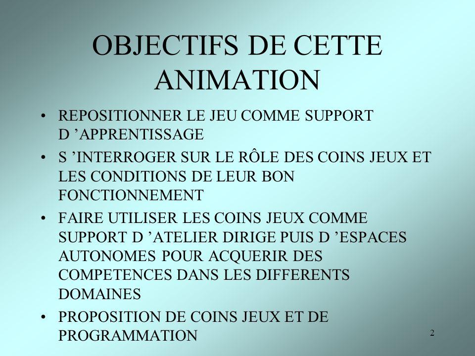 OBJECTIFS DE CETTE ANIMATION