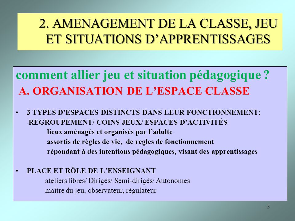 2. AMENAGEMENT DE LA CLASSE, JEU ET SITUATIONS D'APPRENTISSAGES
