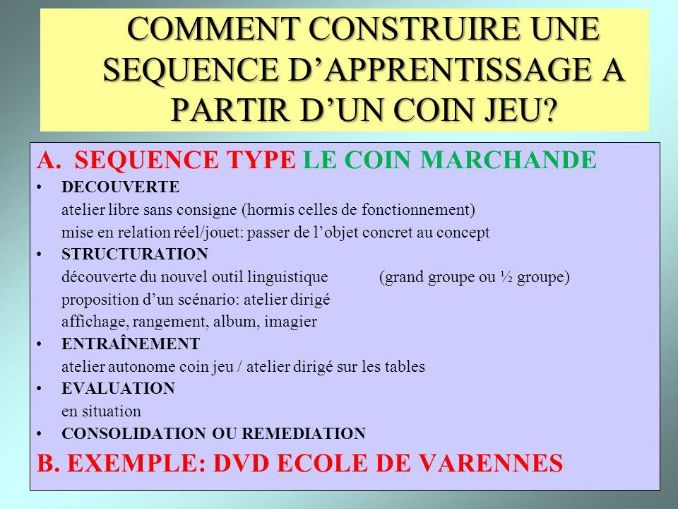COMMENT CONSTRUIRE UNE SEQUENCE D'APPRENTISSAGE A PARTIR D'UN COIN JEU