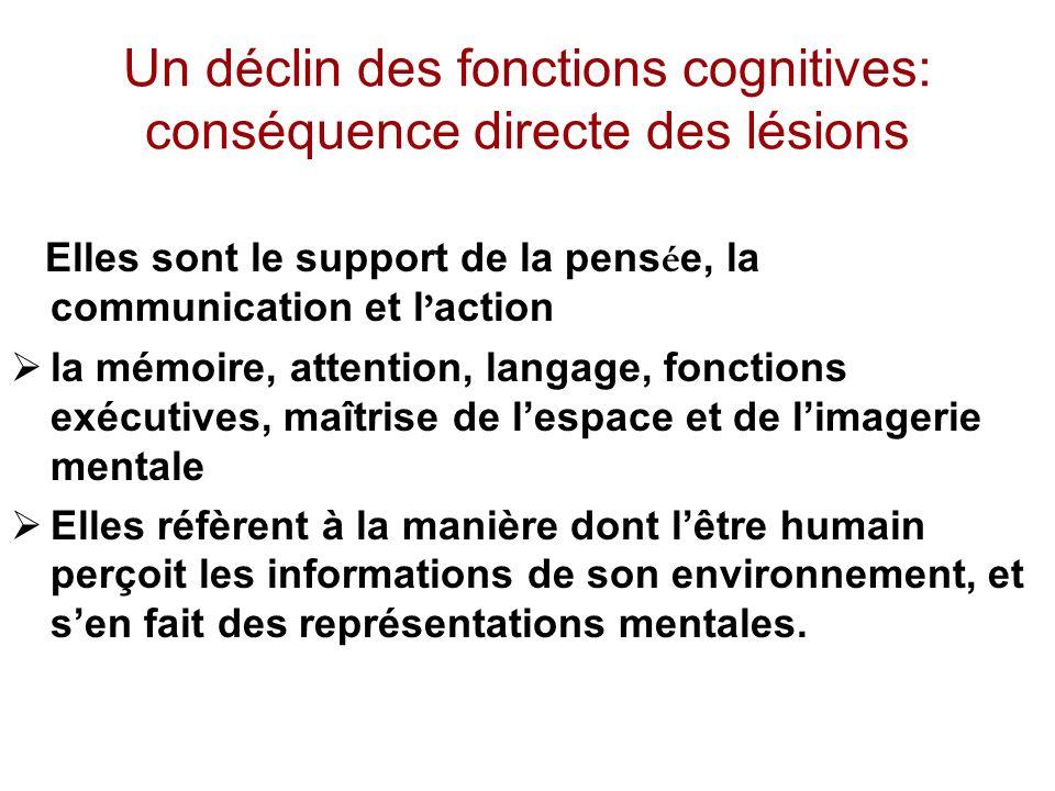 Un déclin des fonctions cognitives: conséquence directe des lésions