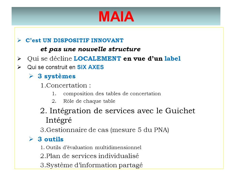 MAIA Intégration de services avec le Guichet Intégré