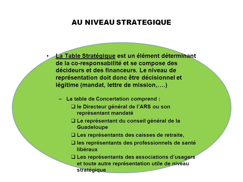 AU NIVEAU STRATEGIQUE