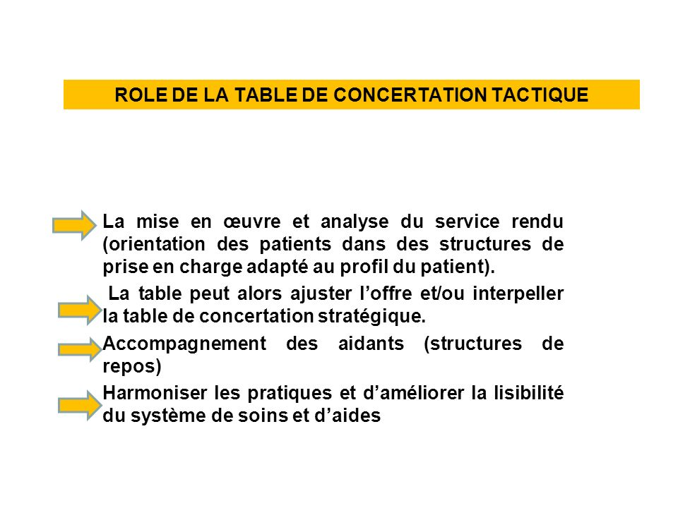 ROLE DE LA TABLE DE CONCERTATION TACTIQUE
