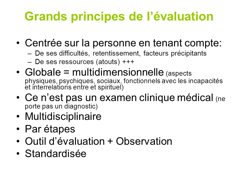 Grands principes de l'évaluation