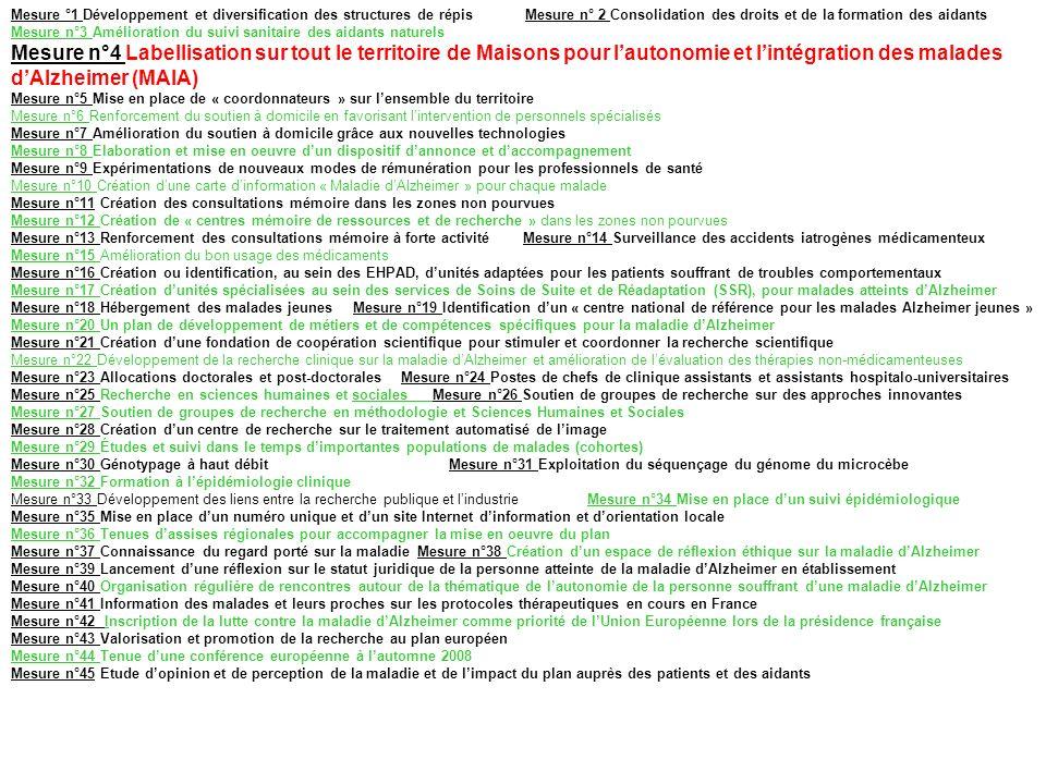 Mesure °1 Développement et diversification des structures de répis Mesure n° 2 Consolidation des droits et de la formation des aidants Mesure n°3 Amélioration du suivi sanitaire des aidants naturels