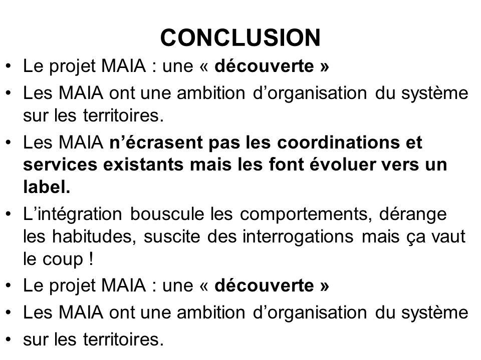 CONCLUSION Le projet MAIA : une « découverte »