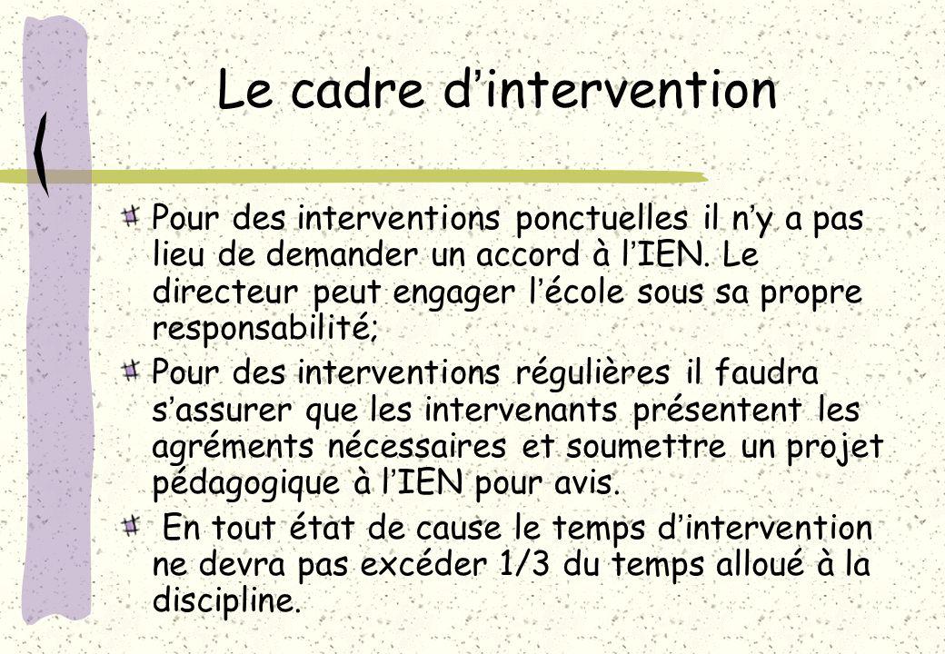 Le cadre d'intervention